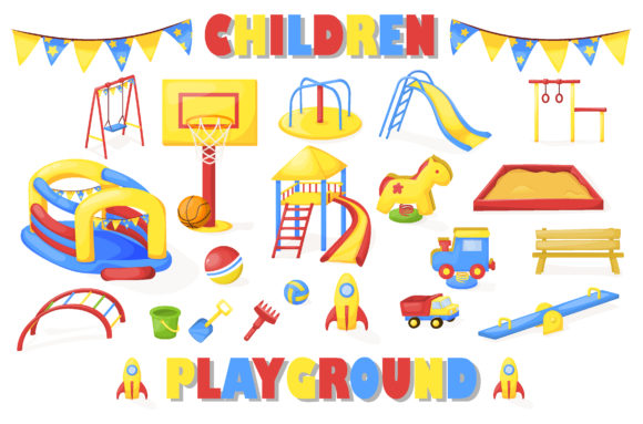 Download Free Children Playground Graphic By Danirablog Creative Fabrica for Cricut Explore, Silhouette and other cutting machines.