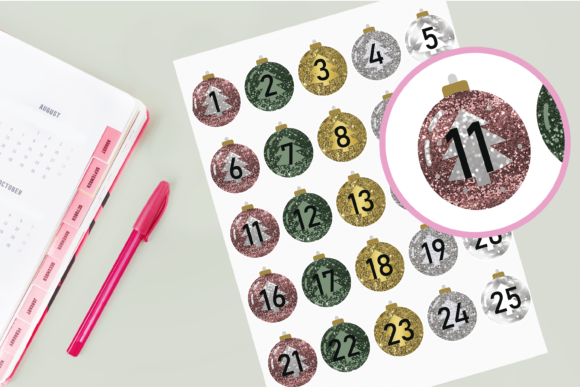 Download Free Christmas Countdown Bauble Stickers Grafik Von Angela Wheeland for Cricut Explore, Silhouette and other cutting machines.