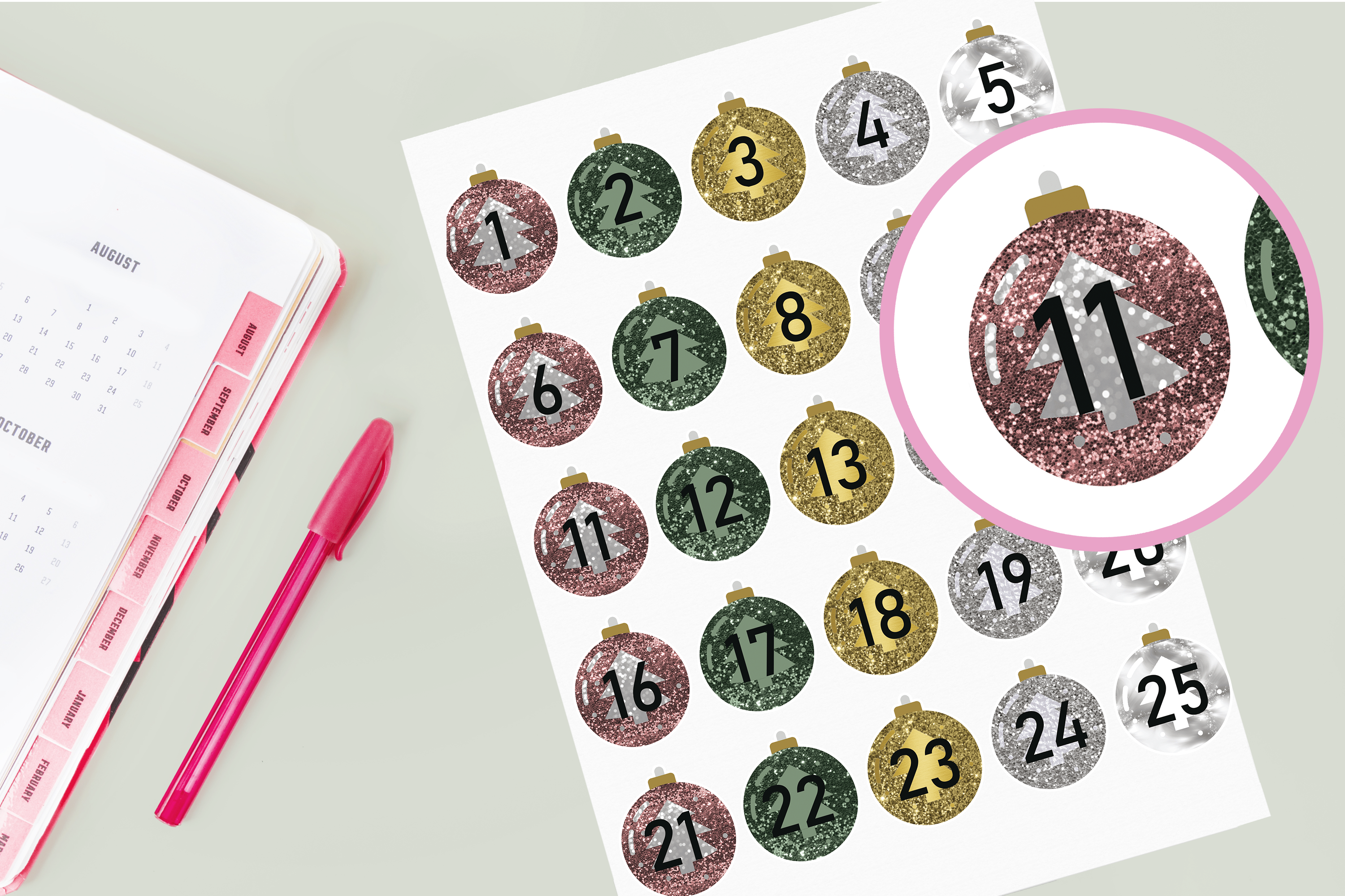 Download Free Christmas Countdown Bauble Stickers Graphic By Angela Wheeland for Cricut Explore, Silhouette and other cutting machines.