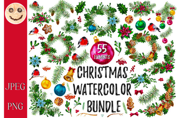 Print on Demand: Christmas Watercolor Bundle Gráfico Ilustraciones Por TasiPas