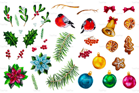 Print on Demand: Christmas Watercolor Bundle Graphic Illustrations By TasiPas - Image 8