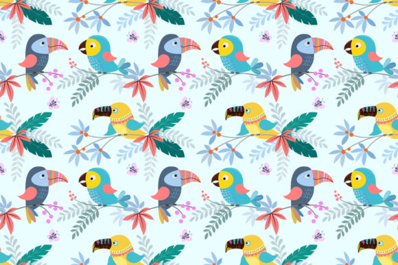 Download Free Cute Colorful Bird Seamless Pattern Graphic By Ranger262 for Cricut Explore, Silhouette and other cutting machines.