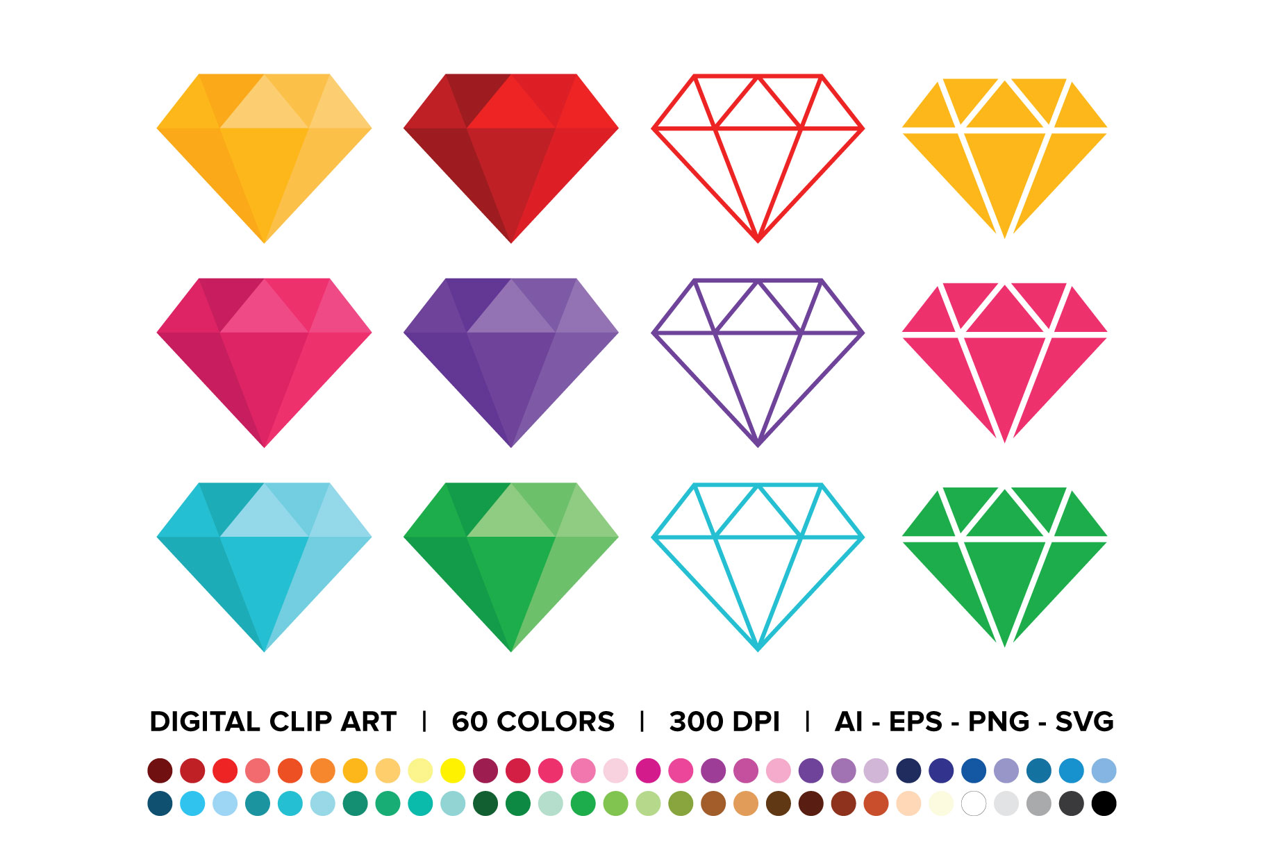 Download Free Diamond Clip Art Set Grafico Por Running With Foxes Creative for Cricut Explore, Silhouette and other cutting machines.