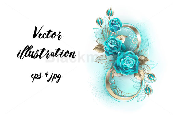Eight with Turquoise Roses Graphic Illustrations By Blackmoon9