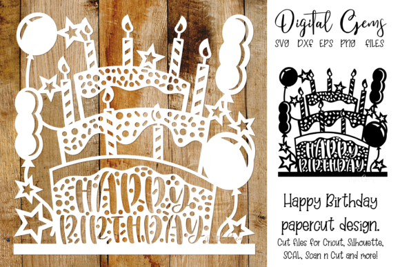 Download Free Happy Birthday Paper Cut Design Graphic By Digital Gems for Cricut Explore, Silhouette and other cutting machines.