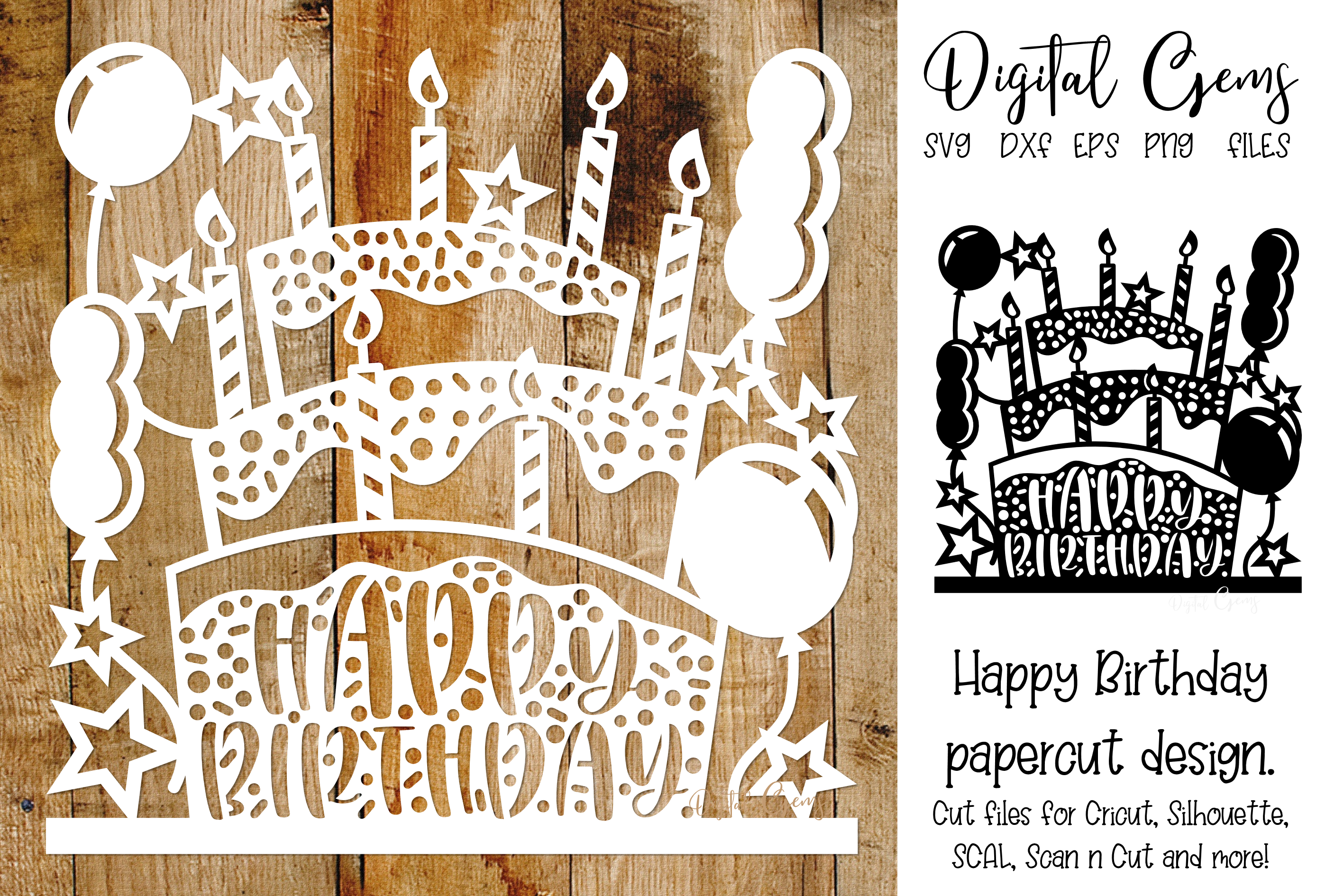 Download Free Happy Birthday Paper Cut Design Graphic By Digital Gems Creative Fabrica for Cricut Explore, Silhouette and other cutting machines.