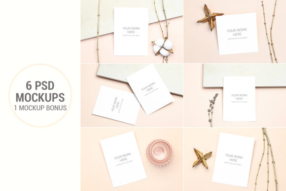 Print on Demand: Invitation Card Mockups with Branches Graphic Product Mockups By PawStudio
