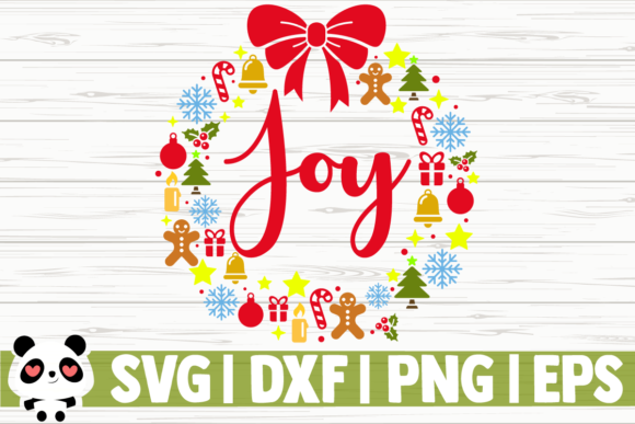 Download Free Joy Christmas Wreath Graphic By Creativedesignsllc Creative for Cricut Explore, Silhouette and other cutting machines.