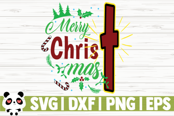 Download Free Merry Christmas Cross Graphic By Creativedesignsllc Creative for Cricut Explore, Silhouette and other cutting machines.