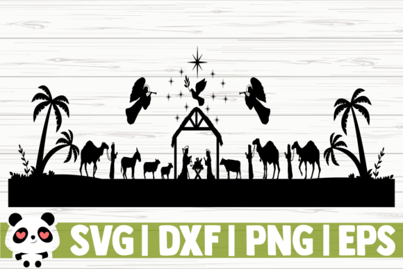 Download Free Nativity Scene Graphic By Creativedesignsllc Creative Fabrica for Cricut Explore, Silhouette and other cutting machines.