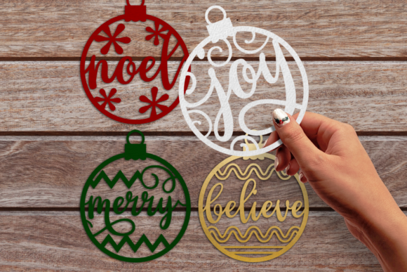 Papercut Christmas Word Ornaments Graphic Crafts By RisaRocksIt - Image 1