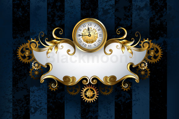 Patterned Banner with Antique Watches Graphic Illustrations By Blackmoon9