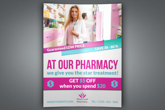 Print on Demand: Pharmacy Flyer Template Graphic Print Templates By OWPictures