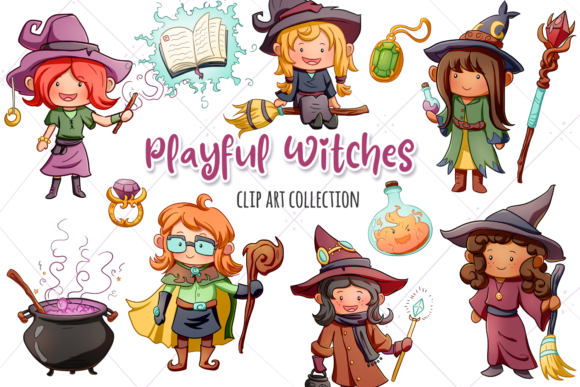 Print on Demand: Playful Witches Fantasy Clip Art Graphic Illustrations By Keepinitkawaiidesign