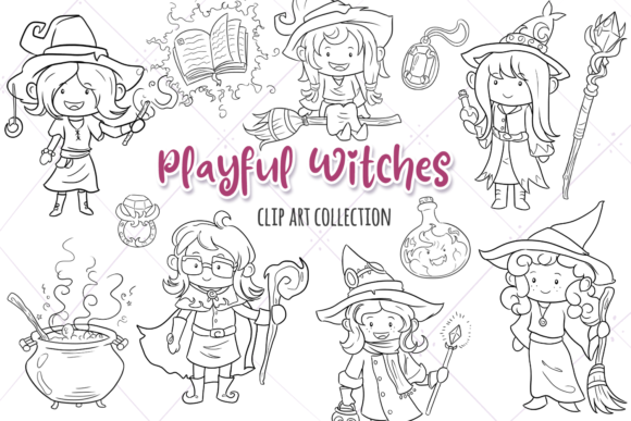 Print on Demand: Playful Witches Fantasy Digital Stamps Grafik Illustrationen von Keepinitkawaiidesign