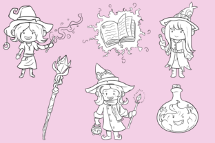 Print on Demand: Playful Witches Fantasy Digital Stamps Graphic Illustrations By Keepinitkawaiidesign 2