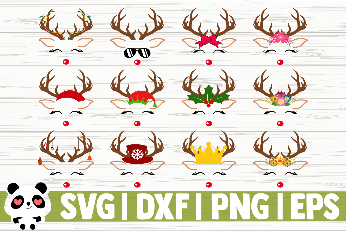 Download Free Reindeer Faces Graphic By Creativedesignsllc Creative Fabrica for Cricut Explore, Silhouette and other cutting machines.