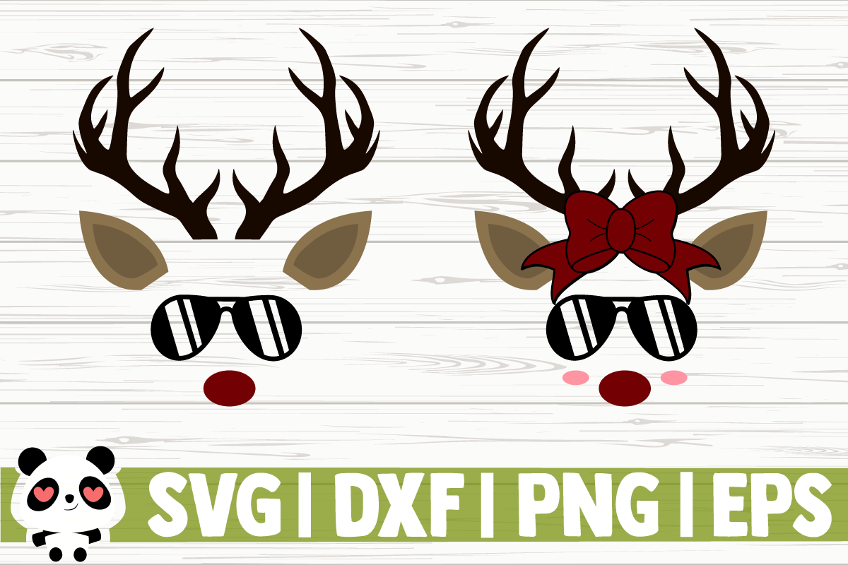 Download Free Reindeer Faces With Sunglasses Graphic By Creativedesignsllc for Cricut Explore, Silhouette and other cutting machines.