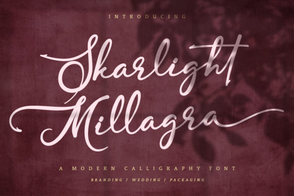 Print on Demand: Skarlight Millagra Script & Handwritten Font By Kotak Kuning Studio