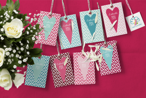 Print on Demand: Valentine Chevron Gift Tags Template Graphic Print Templates By print.cut.hang