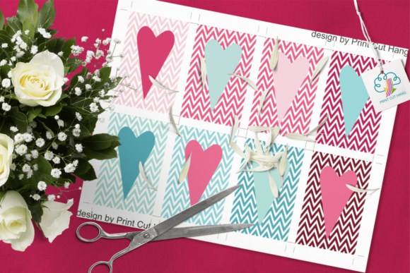 Valentine Chevron Gift Tags Template Graphic By Print Cut Hang