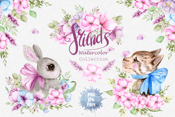 Print on Demand: Watercolor Friends Collection Graphic Illustrations By tanatadesign - Image 1
