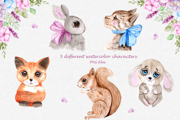 Print on Demand: Watercolor Friends Collection Graphic Illustrations By tanatadesign - Image 3