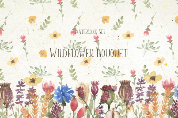 Watercolor Wildflower Bouquet Set Graphic Illustrations By Maya Navits