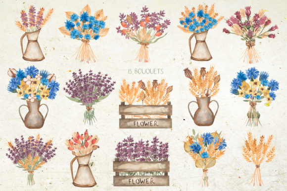 Watercolor Wildflower Bouquet Set Graphic Illustrations By Maya Navits - Image 6