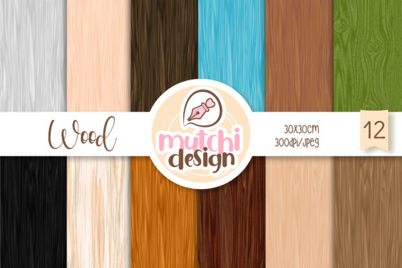 Print on Demand: Wood Backgrounds Graphic Backgrounds By Mutchi Design