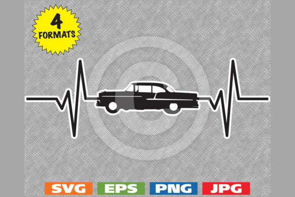 1955 Classic Car Heartbeat Graphic Graphic Illustrations By iDrawSilhouettes