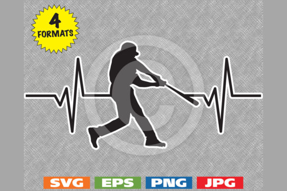 Download Free Baseball Player Batter Heartbeat Graphic Graphic By for Cricut Explore, Silhouette and other cutting machines.