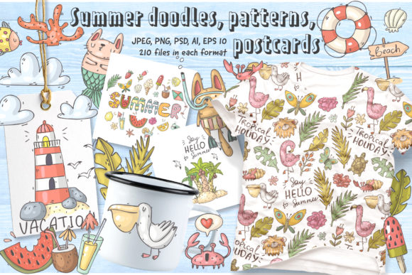 Print on Demand: Big Summer Doodles Collection Graphic Illustrations By Architekt_AT