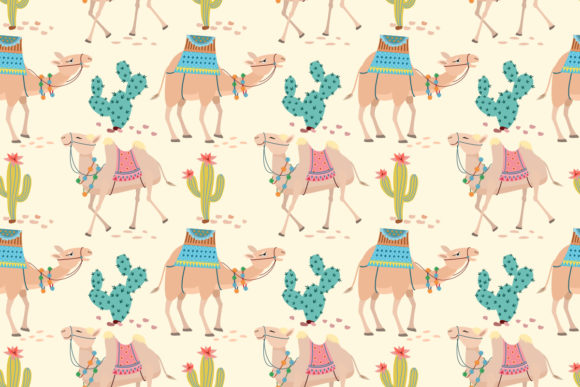 Camel in Desert with Cactus Pattern Graphic Patterns By ranger262