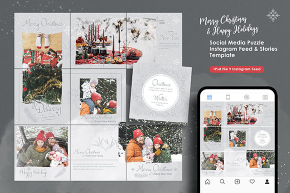 Christmas Instagram Feed & Story Bundle Graphic Web Elements By ObenDsgn
