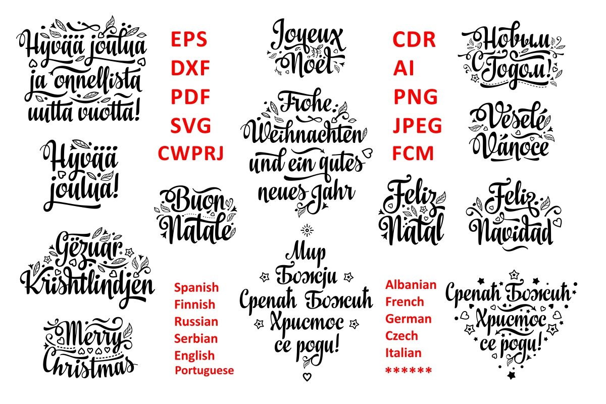 Download Free Christmas Quotes Multilingual Graphic By Millerzoa Creative for Cricut Explore, Silhouette and other cutting machines.