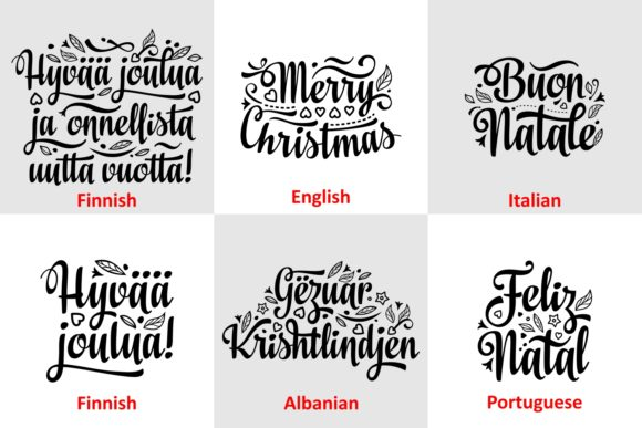 Download Free Christmas Quotes Multilingual Graphic By Millerzoa Creative Fabrica for Cricut Explore, Silhouette and other cutting machines.