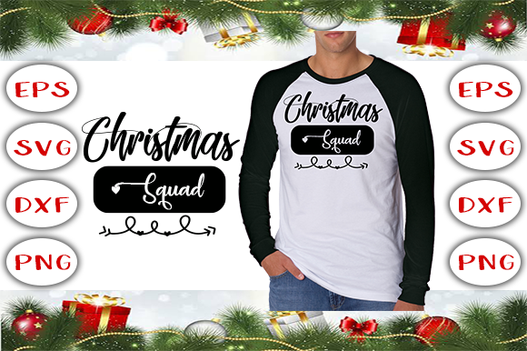 Christmas Squad - T-Shirt Design Graphic Print Templates By Graphics Cafe