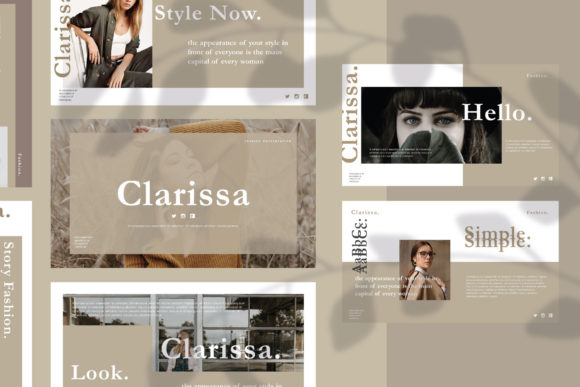 Download Free Clarissa Google Slides Template Graphic By Balyastd Creative for Cricut Explore, Silhouette and other cutting machines.