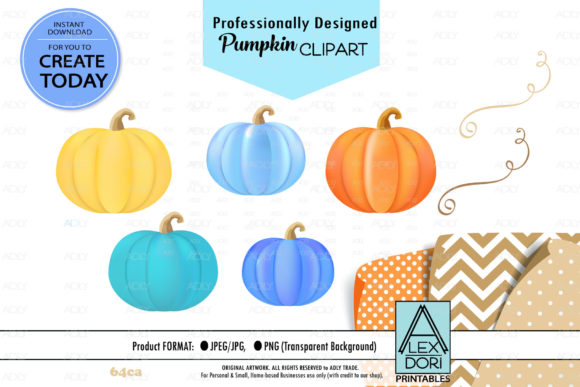 Print on Demand: Colorful Pumpkins Clipart, Halloween Graphic Illustrations By adlydigital