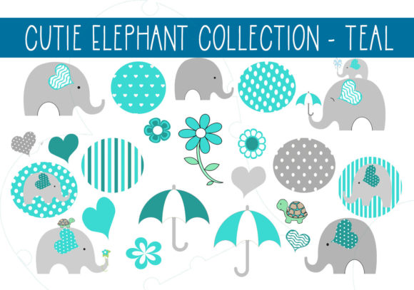 Print on Demand: Cutie Elephant Collection - Teal Graphic Illustrations By CapeAirForce