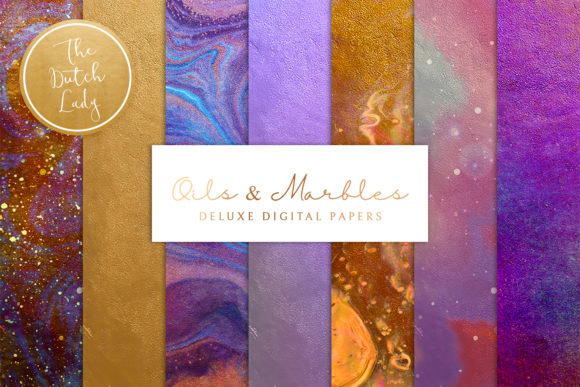 Print on Demand: Digital Backgrounds - Oils & Marbles Graphic Backgrounds By daphnepopuliers