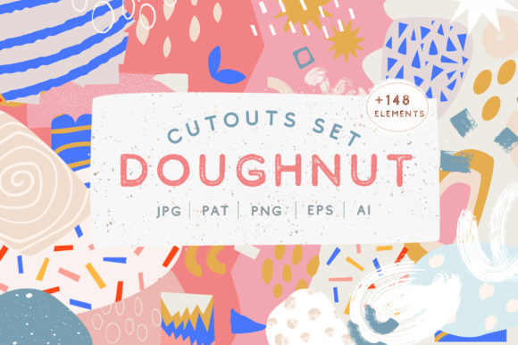 Doughnut Cutouts Set Graphic Illustrations By NassyArt