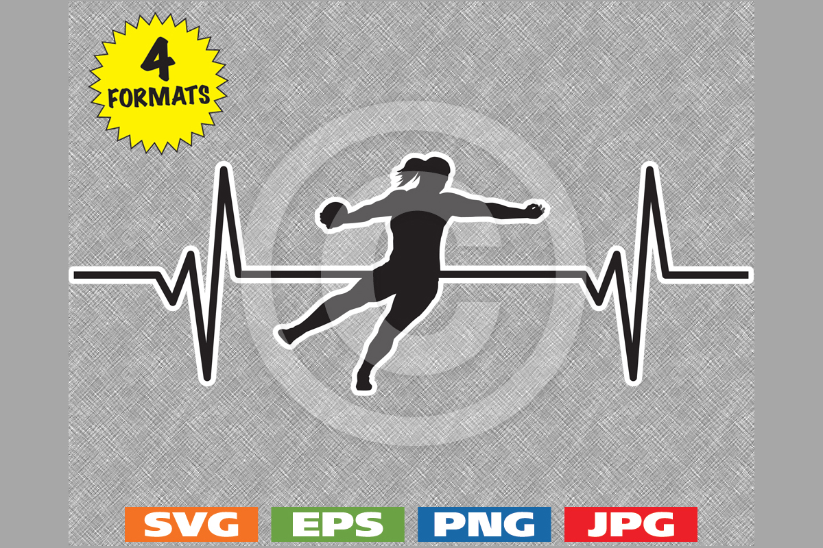 Download Free Female Discus Throw Heartbeat Graphic Graphic By for Cricut Explore, Silhouette and other cutting machines.