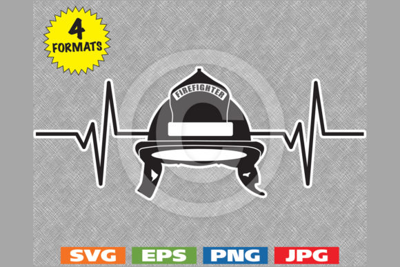 Firefighter Helmet Heartbeat Graphic Graphic Illustrations By iDrawSilhouettes