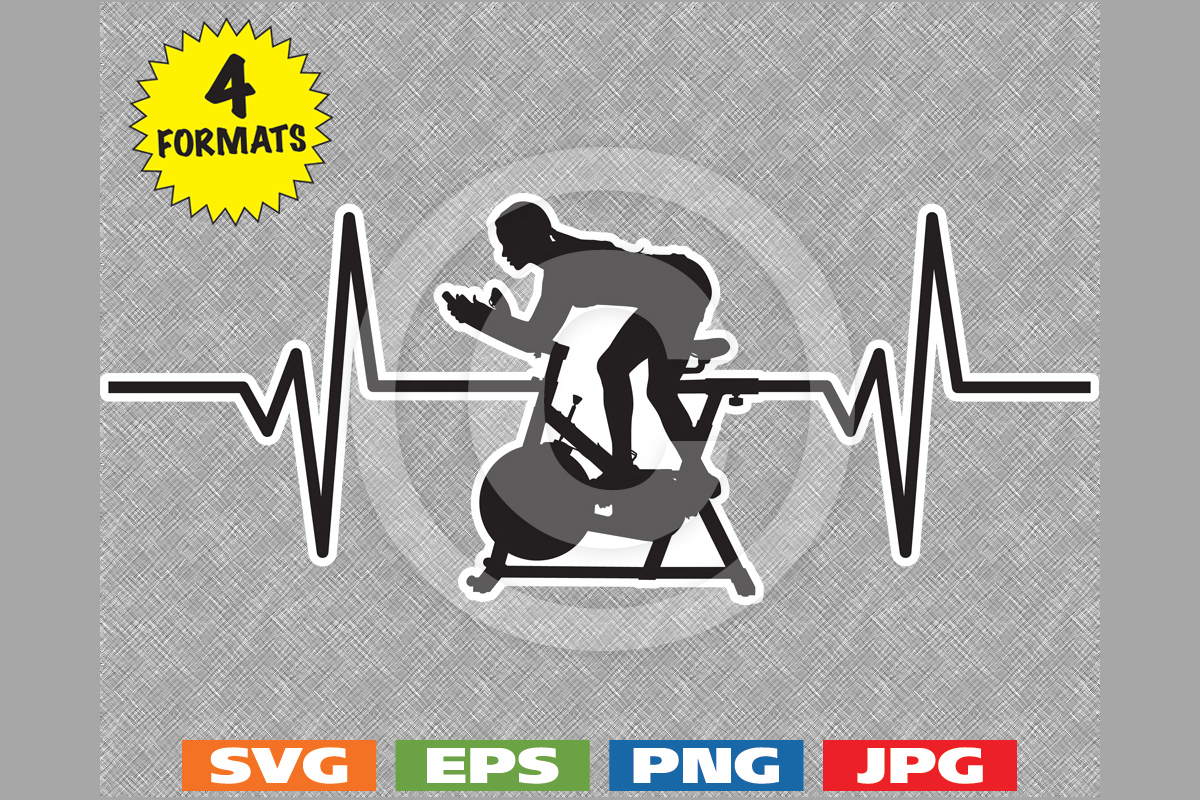 Download Free Girl On Spinbike Heartbeat Graphic Graphic By Idrawsilhouettes for Cricut Explore, Silhouette and other cutting machines.