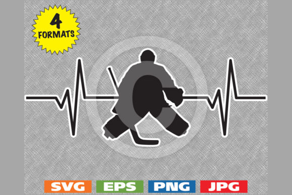 Ice Hockey Goalie Heartbeat Graphic Graphic Illustrations By iDrawSilhouettes