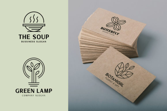 Download Free Monoline Logo Template Bundle Graphic By Arterfak Project Creative Fabrica for Cricut Explore, Silhouette and other cutting machines.