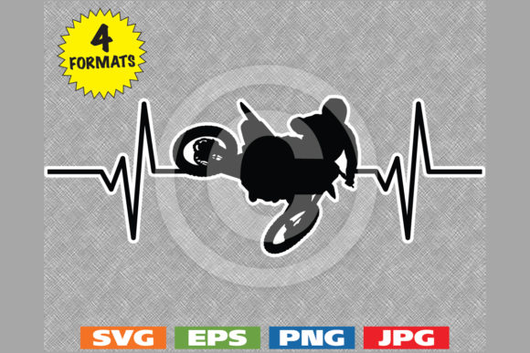Motocross Jump Heartbeat Graphic Graphic Illustrations By iDrawSilhouettes