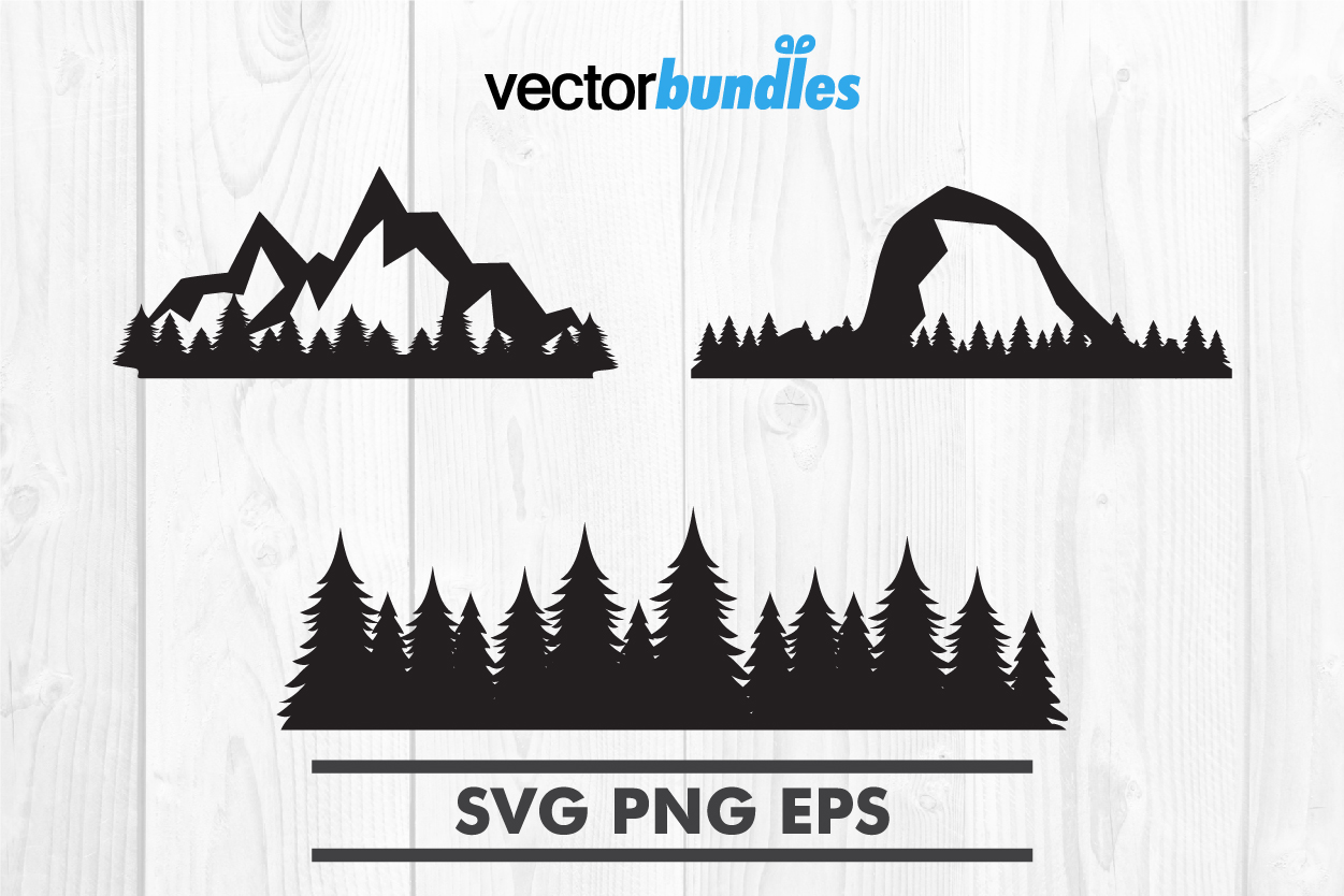 Download Free Mountain Forest Clip Art Graphic By Vectorbundles Creative Fabrica for Cricut Explore, Silhouette and other cutting machines.